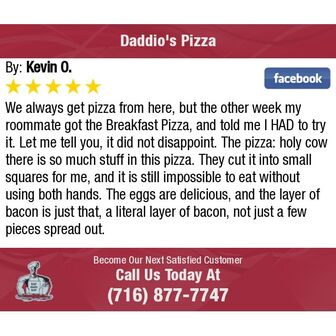 Daddio's Breakfast Pizza 5 Star Customer Review